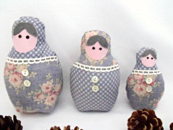 """matryoshka dolls, kawaii dolls, babushka dolls, russian nesting dolls, tilda floral fabric, home decor 7"""", 6"""", 4.5"""""""