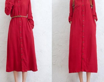 Red Women buttoned Long shirt dress Turn dow colloar Petite dress Spring Dress Casual dress Maternity dress ( WD11154)