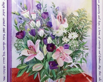 Mixed technique Blessing on the Home with lilies, 15 x 15.5 ''