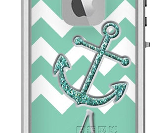 Custom LIFEPROOF Fre Waterproof iPhone 6 5/5S Case - Chevron Anchor Glitter - Monogrammed Phone Case - Personalized iPhone Case