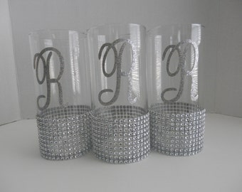 """3 Wedding centerpiece, 9"""" H Glass candleholder, Rhinestone bouquet holder, wedding candle holder o flower vases with intials A-Z"""