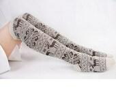 Womens Beige Boot Socks With Snowflake & Deer Knee Socks Mid-calf Socks Womens Cotton Knee Socks Christmas Socks Cotton Boot Socks 17121079