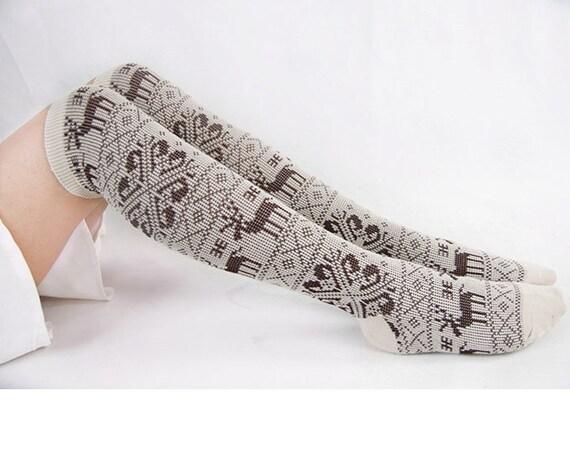 Womens Beige Boot Socks With Snowflake & Deer Knee Socks Mid-calf Length Socks Womens Gray Cotton Socks Christmas Socks Gift  17121079