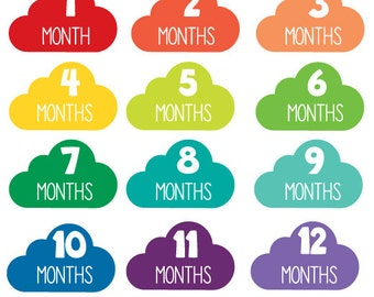 Rainbow Clouds Monthly Stickers,Little Clouds Monthly Onesie Stickers,Peel Off Stickers,Photo Stickers,Body Suit Stickers,Baby Shower