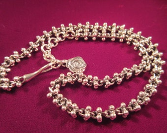 Vintage Sterling Silver Heavy Chain with Rose Clasp