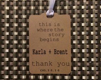 50 Custom Wedding Thank You Tags -Personalized Wedding Favor Tags