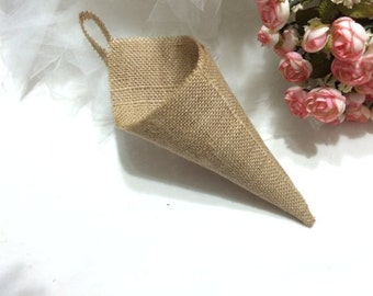 1pc Wedding decoration country , Rustic home decoration ,Hanging burlap Basket Pew Cone wall organizer
