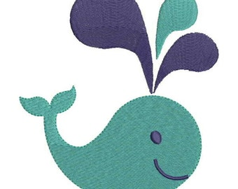 Whale Machine Embroidery Design 5 Size - INSTANT DOWNLOAD