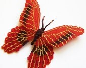 VALENTINE'S DAY Butterlfy - beaded red gold peyote brooch with toho seeds; unique handmade, original, handmade jewelry, handmade gift