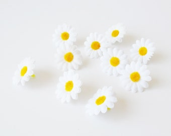 "10 Artificial Daisies Silk Flowers Little White Chamomile With Yellow Center Measuring 1.6"" Floral Hair Accessories Flower Supplies Faux"