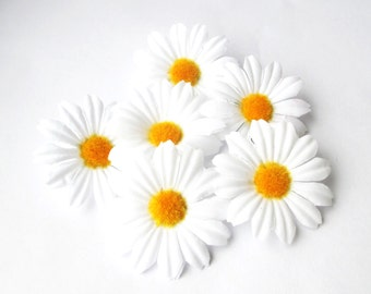 "10 Artificial Daisies Silk Flowers White Chamomile yellow center measuring 2"" Floral Hair Accessories Flower Supplies Faux Fabric Chamomiles"