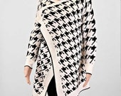 houndstooth pattern knitted blanket wrap cardigan