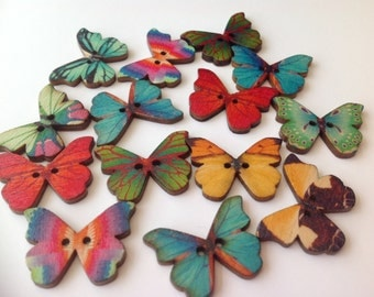 20 x multi coloured wooden butterfly buttons