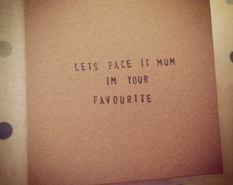Hand stamped mothers day card funny humour