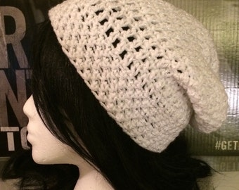 White Sparkle Slouched Beanie