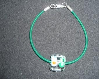 Modern Bracelet in Lampwork , Green Rubber and Sterling Silver