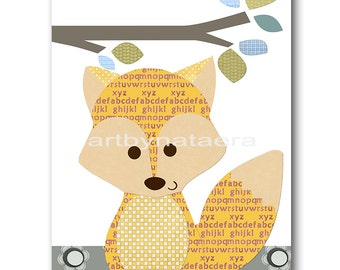 Fox Nursery Digital Art Print Digital Download Nursery Digital Print Printable Nursery Art Instant Download Baby Boy Nursery Art 8x10 11X14