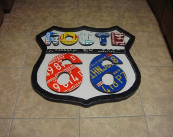 ROUTE 66 STYLE SIGN!!!!   Made Out Of Genuine License Plates!!!
