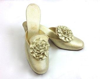 60s Size 5 Daniel Green Metallic Gold Slippers   Boudoir shoes