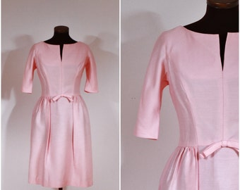 Vintage 1960s Harry Keiser Light Pink Solid Fitted Silk Dress S