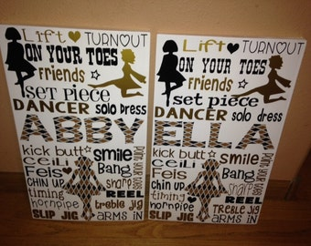 SALE Personalized Wooden Teen Celtic Irish Dance Dancer Bedroom Art Sign