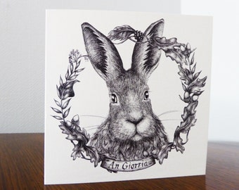 Illustrated cards of Irish native species - Hare