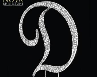 "Crystal Rhinestone Silver Letter ""D"" Monogram Wedding Anniversary Cake Topper, Large"