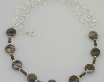 Labradorite and Sterling Silver Chain Necklace - N-008