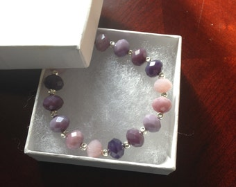 Amethyst Ombre and Silver Beaded Bracelet
