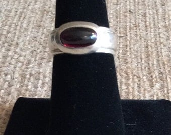 Vintage Garnet Ring with Hand Hammered Sterling Silver Band