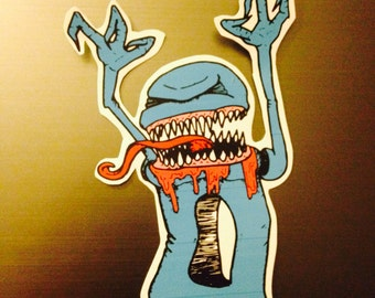 Blue Monster with Long Tongue Vinyl Sticker/Decal