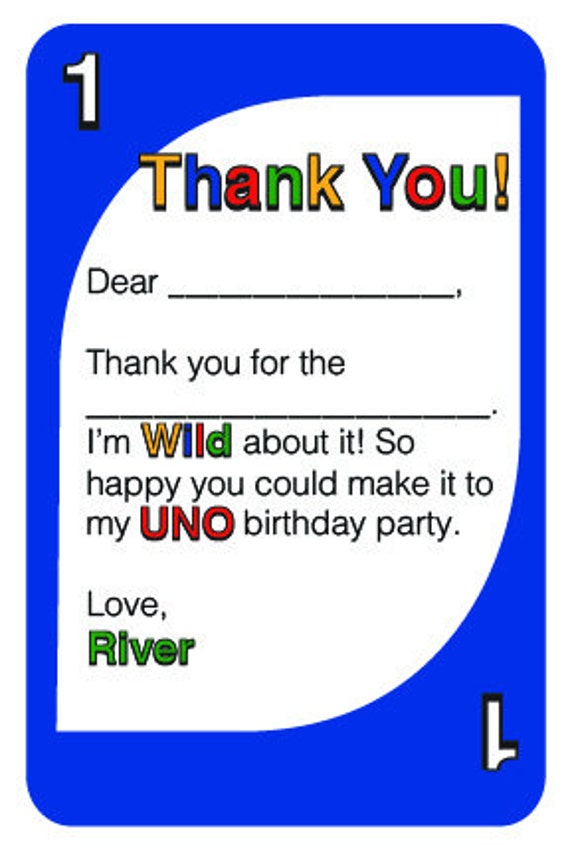 uno thank you cards birthday