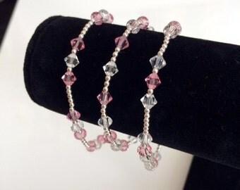 Pink Breast Cancer Awareness Swarovski Crystal Bracelet