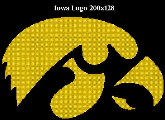 University of iowa hawkeye logo counted cross stitch chart