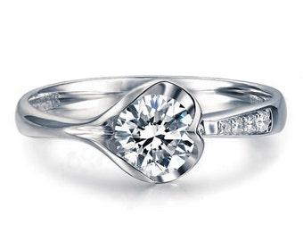 Round Cut Diamond Engagement Ring 14k White Gold or Yellow Gold Art Deco Natural Diamond Ring