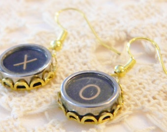 Antique Typewriter Key X and O Earrings Jewelry Black Dangle Earrings X O Keys Symbols for Love Hugs Kisses Gold Earrings Typewriter Keys