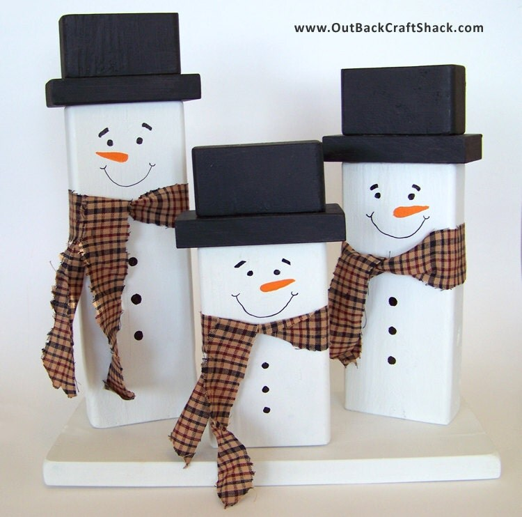 Wood Snowman Christmas Decoration Family Of Snowmen