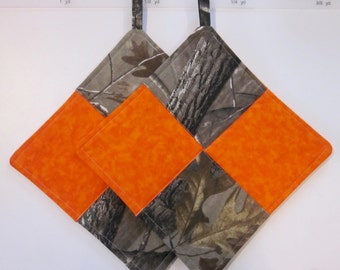SALE!!! Quilted Pot Holders, Camoflage, Set of 2