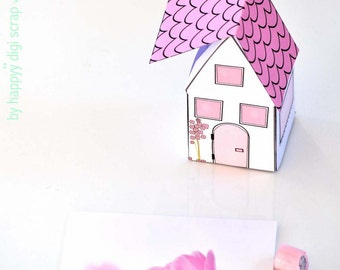 printable gift box house - instant download - pink white colored paper house - commercial uses allowed - favor box - paper toy - pastel