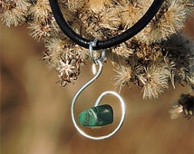 Necklace pendant simple nature malachite, healing crystals and stones, natural malachite jewelry, simple necklace, nature pendant aywin
