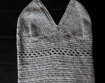 crochet grey vest