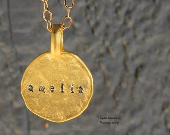 Matte Gold Hammered Personalized Disc • Layering Necklace • Minimal • Dainty • Tiny Circle • Keepsake Gift • Name Date Initial • Customized