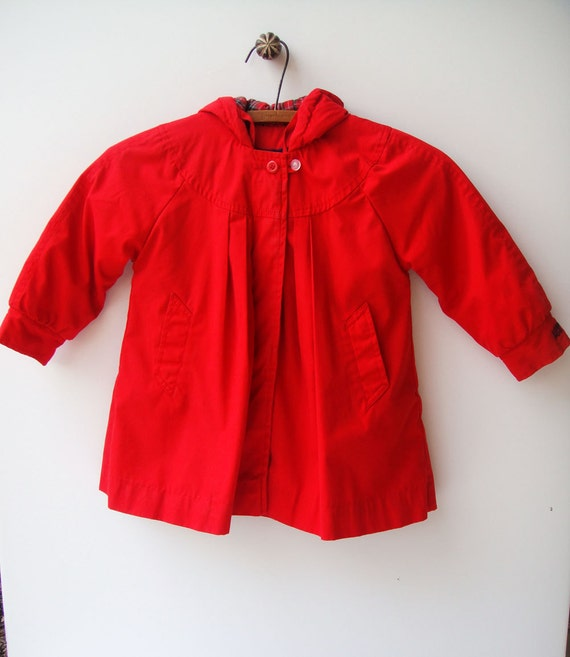 Baby Girl Coat Red 1960&39s Jacket London Fog by StarGlowVintage