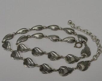 Vintage Sterling Silver Leaf Link Necklace