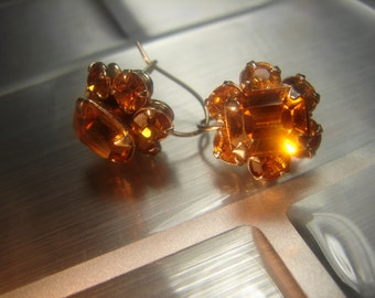 Beautiful Cornflower Yellow Rhinestone Earrings '40's - 62