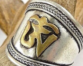 JEWEL ring Tibetan symbol om jewelry Tibetan chenrezi meditation Buddhist zen bt12