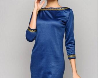 Cobalt blue autumn dress, mini dress with long sleeves, bridesmaid dresses, party dresses