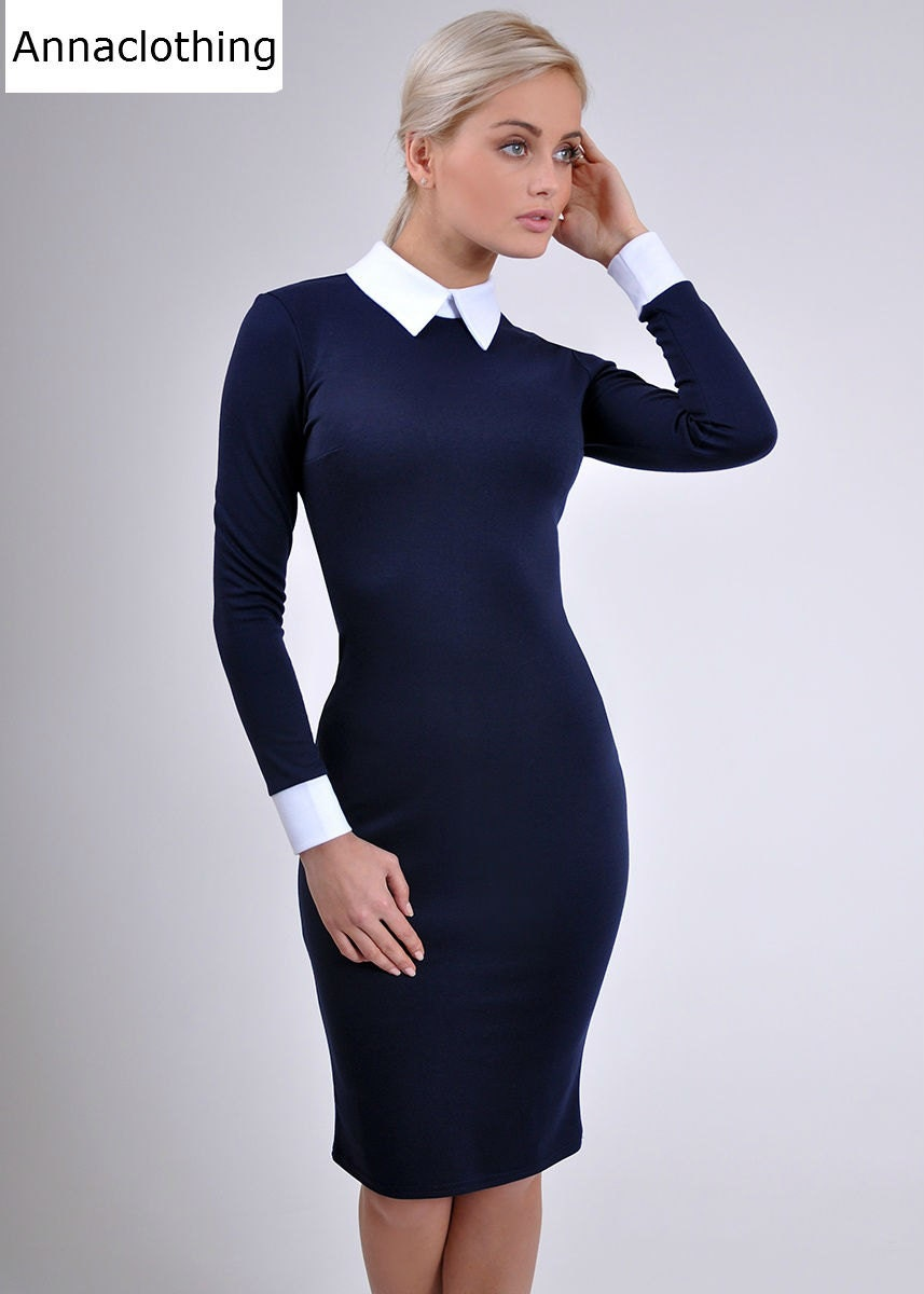 Dark Blue Dress Strict Dress Business Woman Peter Pan Collar