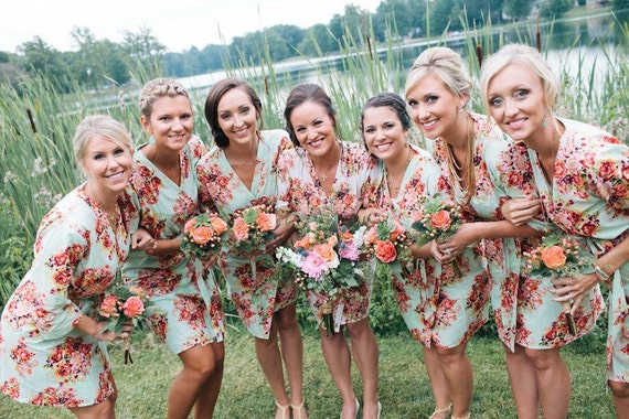 Mint Bridesmaids Robes, Kimono Crossover Robes, Spa Wraps, Bridesmaids gift, getting ready robes, Bridal shower party favors, Floral