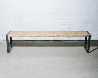 Bench made out of reclaimed wood and steel